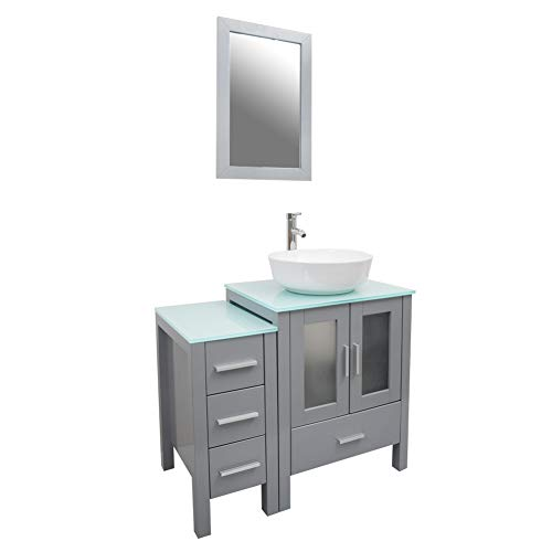 Tonyrena 36 inch Bathroom Vanity in Grey with Mirror and Tempered Glass Countertop,Include White Round Vessel Sink Set
