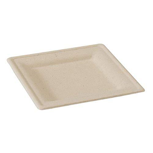 Sugarcane Brown Square Appetizer Plate (Case of 25), PacknWood - Disposable Tan Paper Dessert Plates (7.8' x 7.8') PK210APU2020BR