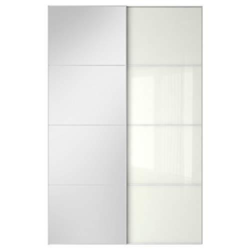 FÄRVIK/AULI par skjutdörrar 150 x 236 cm spegelglas/vitt glas
