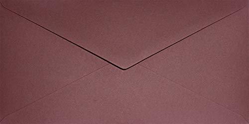 100 Rot-Wein Umschläge DIN lang nassklebend 110x220mm Keaykolour Carmine farbige Briefkuverts ökologisch hochwertig Briefhüllen recycled für Hochzeit Geburtstag Weihnachten Taufe