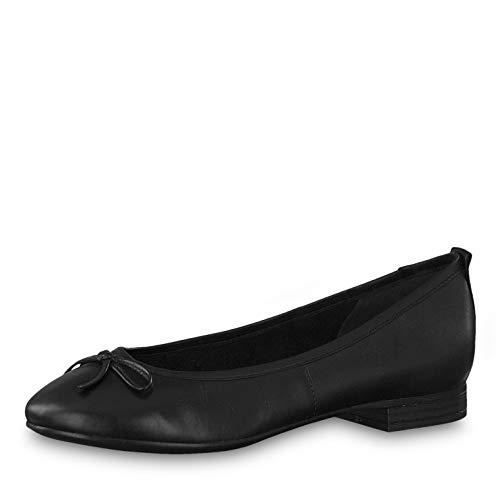 Tamaris Damen KlassischeBallerinas 1-1-22114, Frauen Flats,Sommerschuh,elegant,Schleife,Freizeit,Touch-IT,Black,38 EU / 5 UK