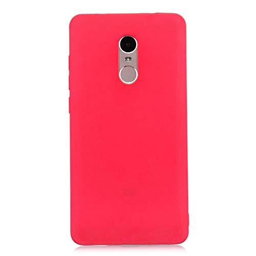 cuzz Funda para Xiaomi Redmi Note 4+{Protector de Pantalla de Vidrio Templado} Carcasa Silicona Suave Gel Rasguño y Resistente Teléfono Móvil Cover-Rojo