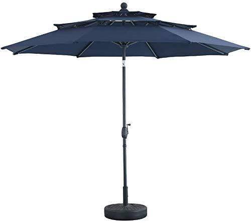 3 Tier Tilt Patio Umbrella Outdoor Umbrella W/Double Vented Market Table 8 Ribs Tilt Crank, Full Aluminum Frame Commercial Garden Backyard Pool Porch (10FT, Navy Blue)