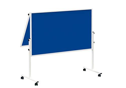 MAUL Moderationstafel Solid 150 x 120cm, Mehrzwecktafel mit Filz Oberfläche, Klappbar, Mit Stellfüßen, Inklusive Rollensatz (4 Rollen), Blau, 6366482, 1 Stück