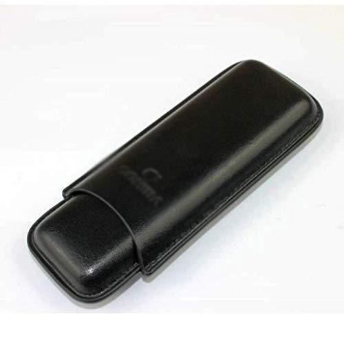 Gymqian Caja de Cuero de Cuero Negro 2 Conjuntos de Cigarros + Caja de Cigarro de Cigarro de Acero Inoxidable Ligero/Negro