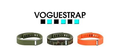 Voguestrap Compatible with Fitbit Flex Olive, Camo, Orange 1800-1401S 3-Pack