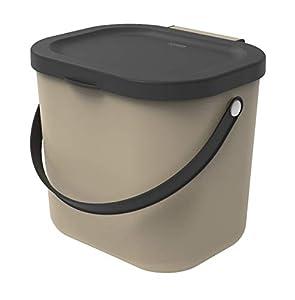 Rotho Albula, Cubo de basura biológica de 6 litros con tapa y asa para la cocina, Plástico PP sin BPA, capuchino, antracita, 6l 23.5 x 20.0 x 20.8 cm