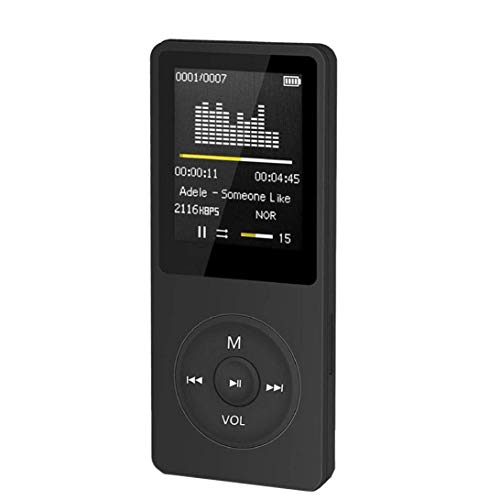 STRIR Reproductor Portátil MP3/MP4 HiFi,Pantalla DE 1,8 Pulgadas LCD y Ranura para Tarjetas Micro SDHC,Apoyo Tarjeta de 64 GB de Micro SD de Alta Capacidad SD TF (Negro)
