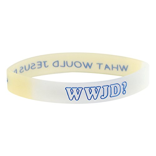 Praisent Cooles Silikonarmband WWJD? - What Would Jesus do in gelb/weiß