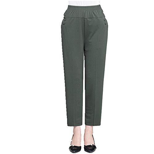 N\P Pantalones de verano sueltos, sueltos, lisos, rectos, para mujer, hasta el tobillo, con cintura alta y pantalones de tallas grandes verde XXL
