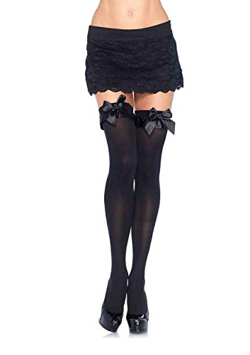Leg Avenue Women's Satin Ruffle Trim and Bow Thigh Highs, Black, One Size