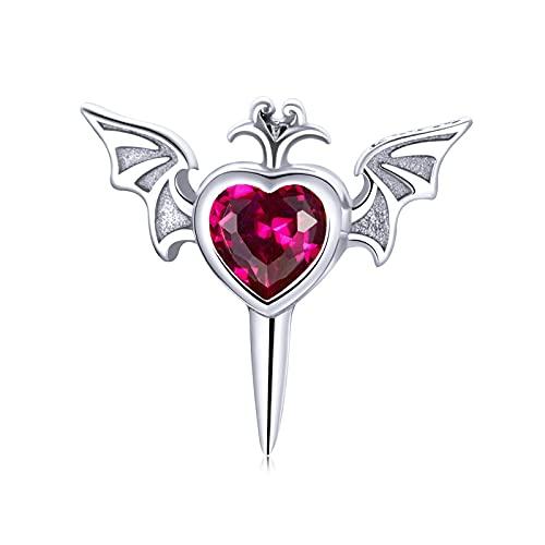 HMMJ Pendientes de botón de Plata de Ley 925, Brazalete de circonita Wing Love Heart Individual para Mujeres y niñas, se Adapta a Orejas sensibles (con Caja de Regalo)