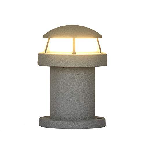 Topmo-plus graue Wegelampe Außenlampe Stehlampe Garten außenleuchte Stehleuchte Gartenlampe design Aluminium/ 9W LED bridgelux COB/Blumenbeete/Wanderweg/Terrassenlaterne grau 3200K 990LM 20CM
