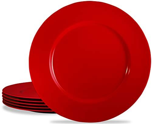Calypso Basics by Reston Lloyd Melamine Dinner Plate, Set of 6, Red