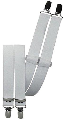 Harrys-Collection Hosenträger mit 4 Clips 9 Farben lieferbar 25 mm breit, Farbe:weiss