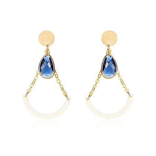 Ktimor Pendientes de diamante con cadena dorada para mujer, fiesta, boda