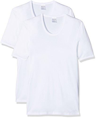 Schiesser 2 Stück ( Doppelpack ) Herren 1/2 Arm Unterhemd Feinripp - Weiß: Größe: L