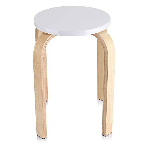 Stapelbarer Stuhl, rutschfest, runder Hocker, Küchenhocker aus gebogenem Holz, stapelbar, Innen- und Außenbereich, Farbe Bonbon, Höhe 45 cm (weiß)