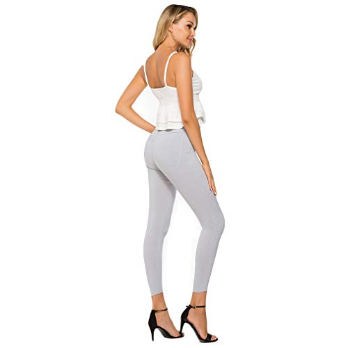 IUMER Woman Stretchy Pant Polyester Slim Relaxed Fit All Day Skinny Long Jegging Pants,Light Grey,L