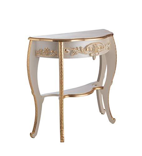 Consolle Barocco Avorio con fregi Decorati in Foglia Oro Originale Made in Italy Dimensioni H.cm 83.50 Prof. cm. 35.00 Lung. cm. 94,5