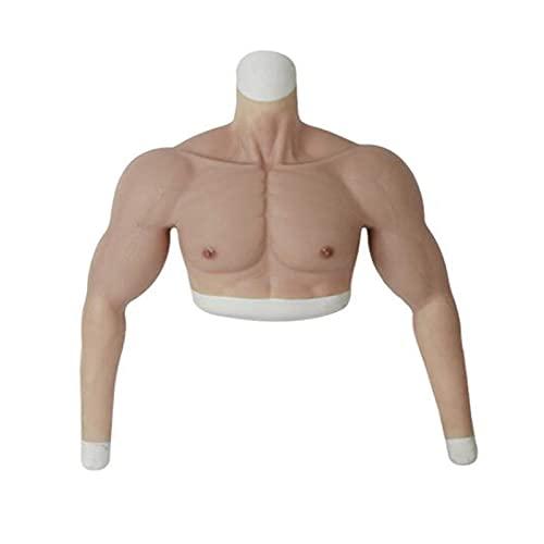 XBSXP Silicona Falso Pecho Muscular Chaleco Bíceps Ropa - Hombre Encantador Cosplay Falso Vientre para Hombres Películas Atrezzo Crossdresser Divertido Pecho Simulación Músculo