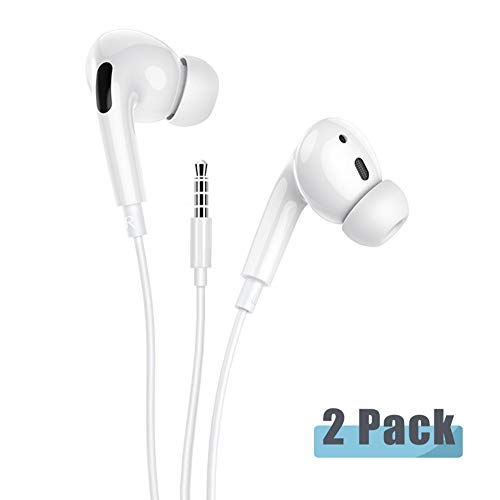 [2Pack] for iPhone in-Ear Noise Isolating Headphone Wired 3.5mm Earphones with Volume Control Earphones with Pure Sound and Powerful Bass Compatible with All Support 3.5mm Interface Devices Headphones