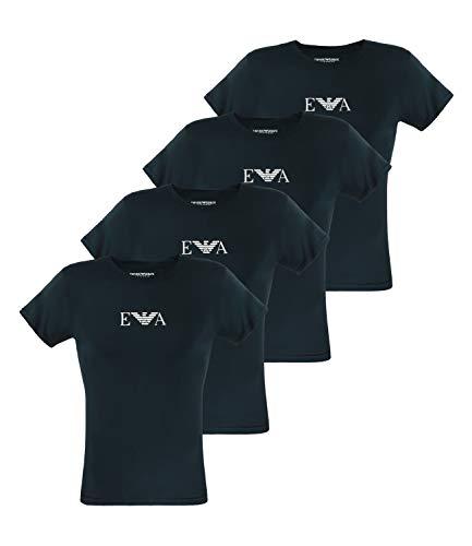 Photo of Emporio Armani 111267-CC715 Men's Short-Sleeved Crew Neck Cotton Stretch T-Shirts Pack of 4 – Blue – Medium