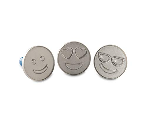 Nordic Ware 01255 Emoji Cookie Stamps, Set of 3, with Blue Hardwood Handles