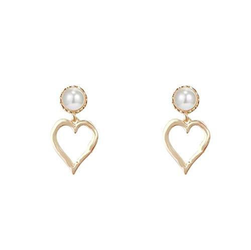 Yhhzw Pendientes Colgantes De Perlas De Corazón Dorado Simples Para Mujer, Pendientes Colgantes De Perlas De Declaración De Moda, Joyería De Fiesta, Accesorio De Moda