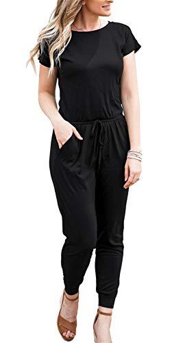 DouBCQ Womens Casual Short Sleeve Jumpsuits Elastic Waist Jumpsuit with Pockets(Black, Medium)