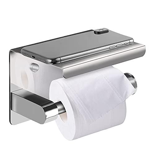 Portarrollos Baño Portarollos Papel Soporte Teléfono Móvil Estante de Almacenamiento para Papel Higiénico Autoadhesivo Apto para Baños y Cocinas - Plata Inoxidable(Polished)