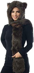 Brown Bear Full Animal Hood Hoodie Hat Faux Fur 3 in 1 Function