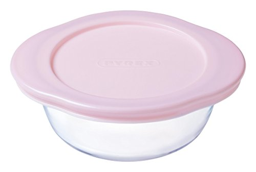 Pyrex Baby Storage - Recipiente redondo, 14 x 12 cm, 35 cl, transparente + tapa, color rosa