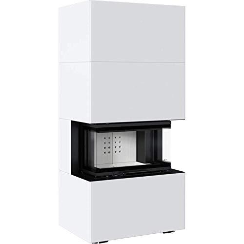 Kratki Home Easy Box Kamin-Ofen Stahl-Verkleidung weiß hochschiebbar Fertig-Bausatz 7kw Bauart 2 160mm Agbasstutzen-Durchmesser