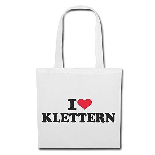 Tasche Umhängetasche I Love Klettern - Bergsteiger - KLETTERHALLE - KLETTERGERÜST - KLETTERBAUM Einkaufstasche Schulbeutel Turnbeutel in Weiß