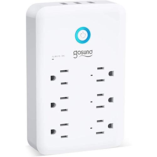 Smart Outlet Works with Alexa, Google Home, Gosund Multi Plug Outlet Extender (15A/1800W), 6-Outlet Surge Protector with 3 USB Ports, Smart Plug, Timer & Schedule, Remote Control, No Hub Required