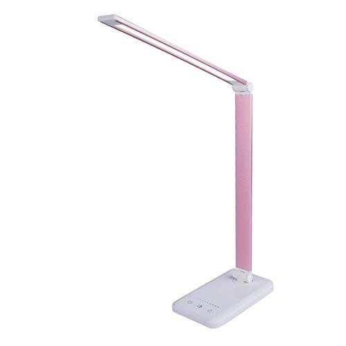 Lámpara Escritorio LED,Lámpara de Mesa USB regulable Recargable (3 Modos, 5 Niveles de Brillo, Temporizador de 30 minutos y 1 hora, Control Táctil) [Clase de eficiencia energética A+] (Rosa roja)