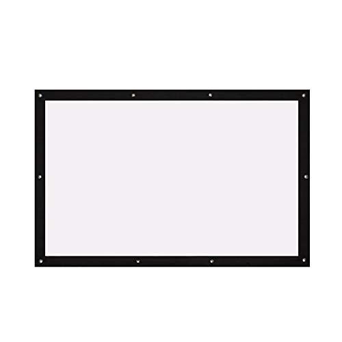 Auntwhale Pantalla Plegable de 16: 9 HD Pantalla de proyección de 50 Pulgadas Cortina de proyección de poliéster Cine en casa Patio al Aire Libre 62 * 111cm Fondo Blanco + Borde Negro