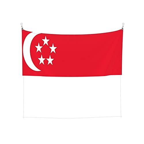 Tapisserie Flagge von Singapur, Wandbehang, Tarot-Boho, beliebt, mystisch, Trippy-Yoga, Hippie-Wandteppiche für Wohnzimmer, Schlafzimmer, Wohnheim, Heimdekoration, schwarz & weiß Stranddecke