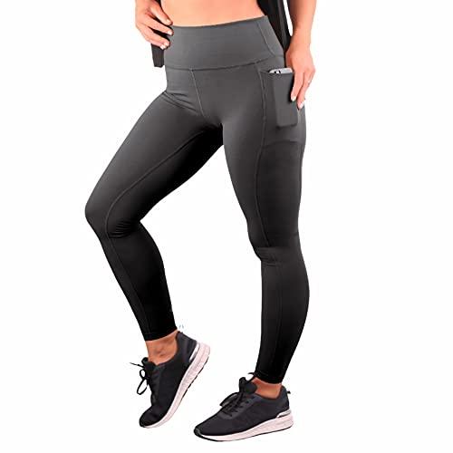 JOMO Sportswear Legginsy gimnastyczne z wysokim stanem dla kobiet, masło miękkie body rzeźbiące legginsy z kontrolą brzucha i kieszeniami na telefon, trening joga/pilates/spodnie do biegania, Czarny, 44 PL