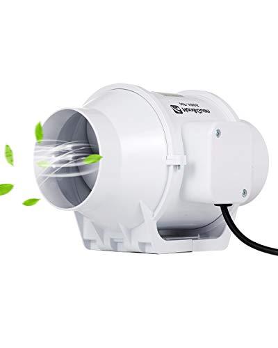 Hon&Guan 100mm Extractor Ventilador de Aire en Línea Super Ligero y Silencioso - 170m³/h
