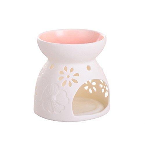 ToiM Vase en forme de lait blanc en céramique creux Floral Aroma lampe bougie chauffe-parfum parfum plus chaud huile diffuseur huile essentielle lampe four d'aromathérapie en céramique brûleur d'encens cire fondre plus chaud (blanc)
