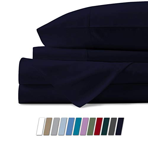 500 Thread Count 100% Cotton Sheet Navy Blue Queen Sheets Set, 4-Piece Long-staple Combed Pure Cotton Best Sheets For Bed, Breathable, Soft & Silky Sateen Weave Fits Mattress Upto 18'' Deep Pocket