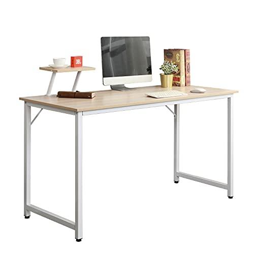 SogesHome Escritorio de Computadora Muebles de Oficina Mesa de Mesa de Oficina de Madera y Acero,Roble Blanco,100x50x75cm, WK-JK100-MO-SH-01
