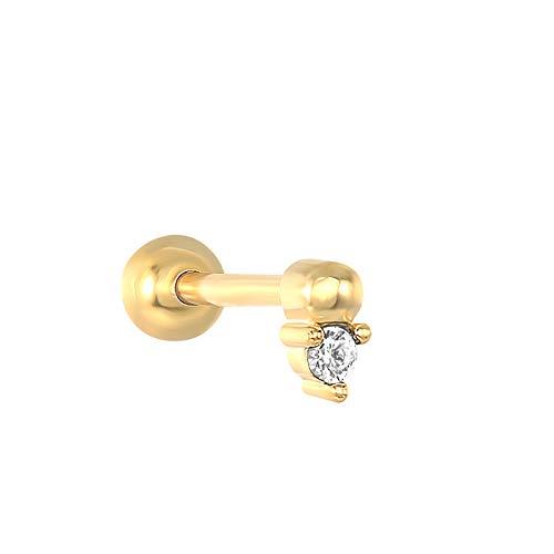 EH - 1 piercing de plata de ley 925 con circonita negra brillante y circonita negra, para cartílago, oreja, oreja, lóbulo de oreja, para mujer, con hebilla, color dorado, 11