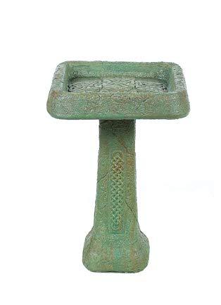 Solid Rock Stoneworks Celtic Birdbath- Verde- 27' Tall x 18' Dia