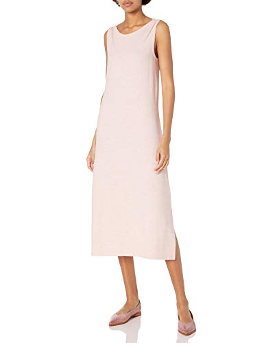 Amazon Brand - Daily Ritual Women's Cozy Knit Sleeveless Bateau Neck Midi Dress, Light Peach Marl, Large