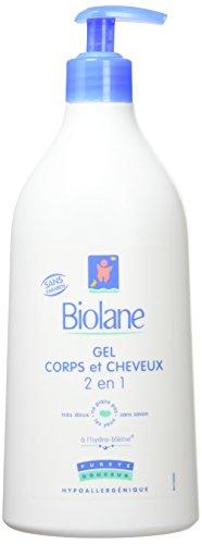 Biolane – Gel Corps et Cheveux 2 en 1 – Gel lavant doux pour la peau sensible et les cheveux fins du bébé – flacon pompe de 750 ml
