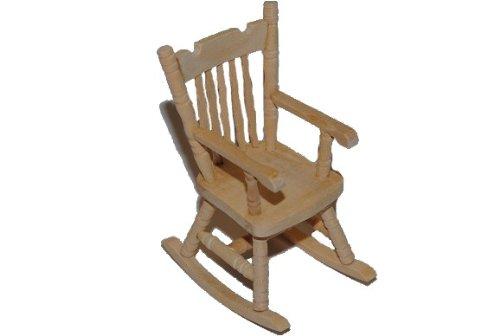 alles-meine.de GmbH Schaukelstuhl Stuhl aus Holz - Miniatur für Puppenstube Puppenhaus - Puppenstuben - Maßstab 1:12- Wohnzimmer