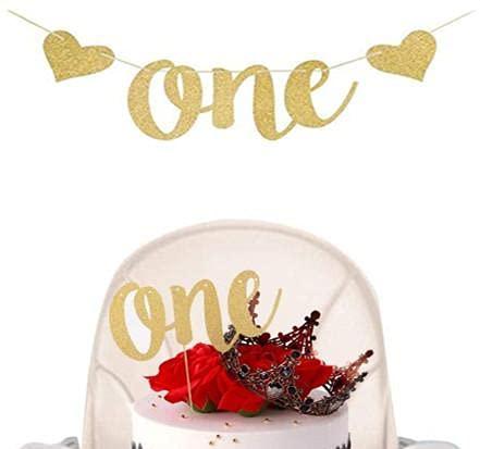 VCOSTORE One Cake Topper con Lettere Glitter Oro e Banner per la Prima Festa di Compleanno o la Decorazione della Festa Nuziale di Un Anno